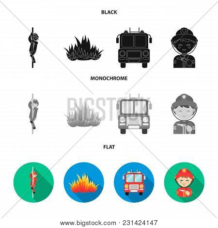Fireman, Flame, Fire Truck. Fire Department Set Collection Icons In Black, Flat, Monochrome Style Ve