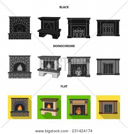 Fire, Warmth And Comfort.fireplace Set Collection Icons In Black, Flat, Monochrome Style Vector Symb
