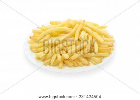 French Fries On A White Plate Isolated On A White Background.