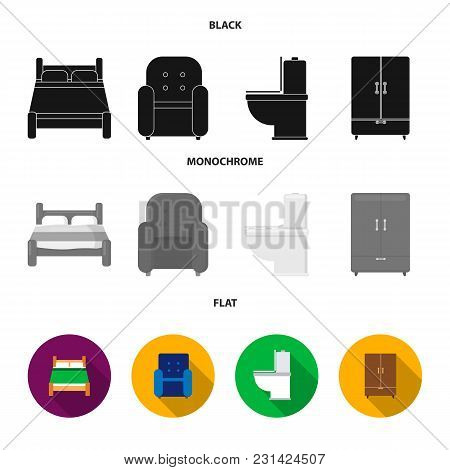 A Bed, An Armchair, A Toilet, A Wardrobe.furniturefurniture Set Collection Icons In Black, Flat, Mon