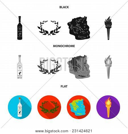 Greece, Country, Tradition, Landmark .greece Set Collection Icons In Black, Flat, Monochrome Style V