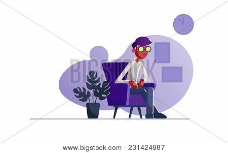 A Man Is Sitting In The Office. Vector Illustration Of A Seated Man.