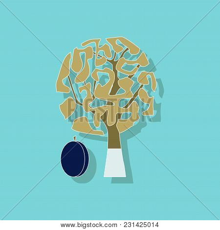 Paper Sticker On Stylish Background Of Plant Prunus