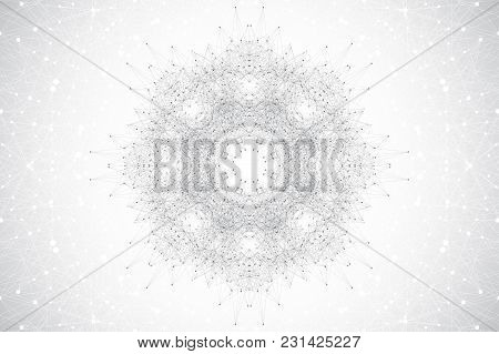 Geometric Abstract Round Form With Connected Line And Dots. Minimalism Chaotic Background. Linear Si