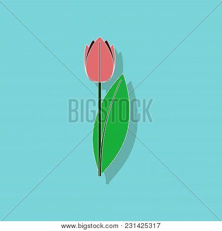 Paper Sticker On Stylish Background Of Plant Tulipa