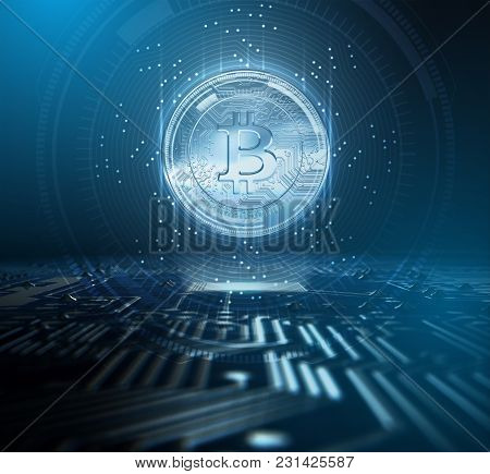 Cryptocurrency Bitcoin And Circuit Board