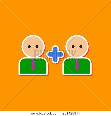 Paper Sticker On Stylish Background Gays Love Family