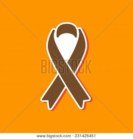 Paper Sticker On Stylish Background Gays Hiv Ribbon