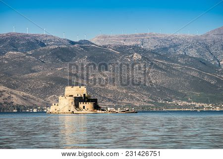 Bourtzi Water Fortress In Nafplio Peloponnese Peninsula In Greece.