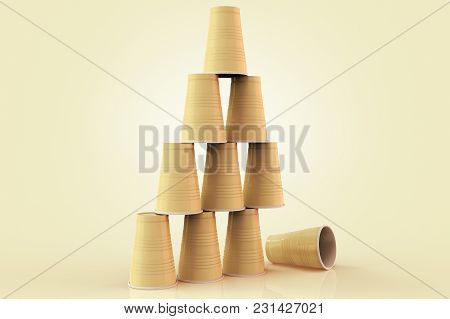 3d Rendering Of Plastic Cups Stacked In A Pyramid With One Fallen Down Representing The Concept Of F