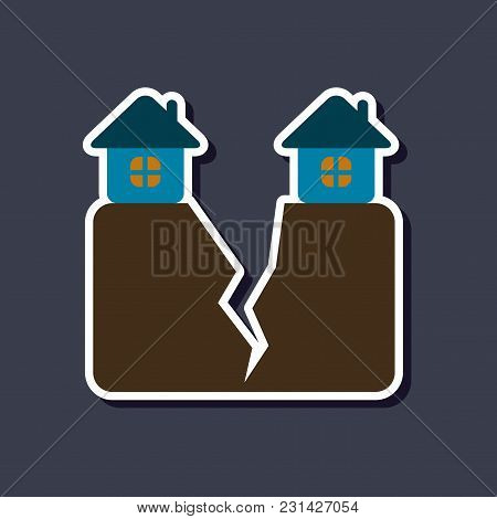 Paper Sticker On Stylish Background Nature House Earthquake