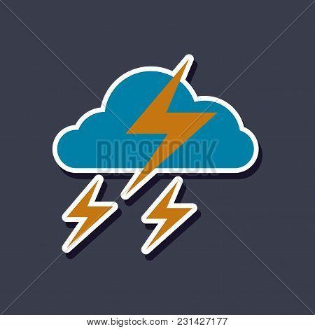 Paper Sticker On Stylish Background Lightning Cloud