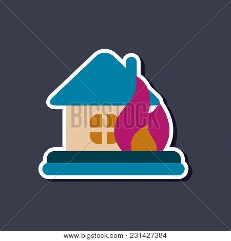 Paper Sticker On Stylish Background Nature Fire House