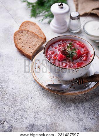 Traditional Ukrainian Beetroot Soup Borsch. Selective Focus