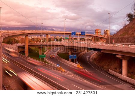 Freeways Intersection At Vitacura District In Santiago De Chile