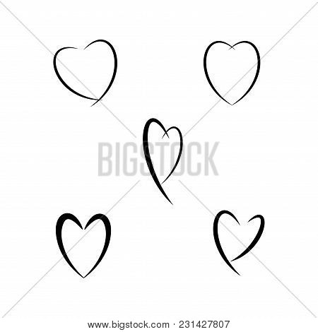Heart Set Sign. Isolated Mark On White Background. Symbol Linked, Join, Love, Passion And Wedding. T