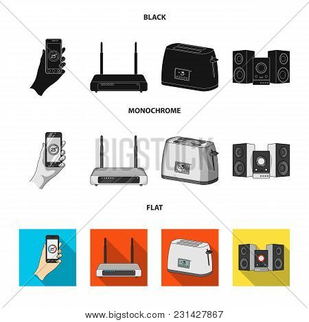 Home Appliances And Equipment Black, Flat, Monochrome Icons In Set Collection For Design.modern Hous