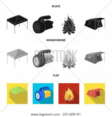Awning, Fire And Other Tourist Equipment.tent Set Collection Icons In Black, Flat, Monochrome Style