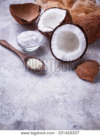 Fresh Coconut And Coconuts Oil. Selective Focus