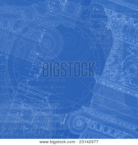 Architecture Blueprint - Hand draw sketch ionic architectural order based
