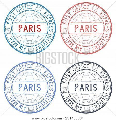 Colored Postmarks Paris. Express Delivery, Round Ink Stamps. Vector Illustration Isolated On White B