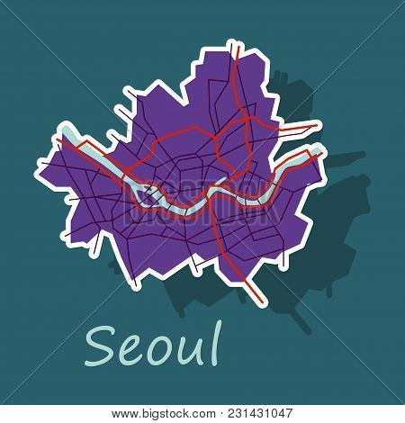 Sticker Map Of Seoul With Borders Of The Regions