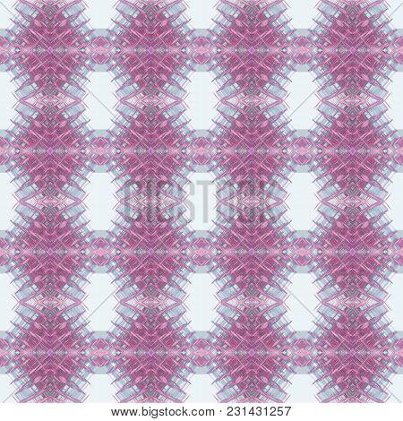 Seamless Pattern In Purple, Gray Rombus Art Elements. Abstract Kaleidoscope Background. Symmetric Ar