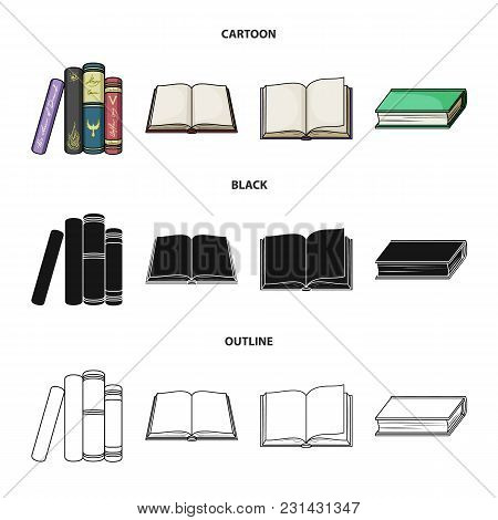 Various Kinds Of Books. Books Set Collection Icons In Cartoon, Black, Outline Style Vector Symbol St