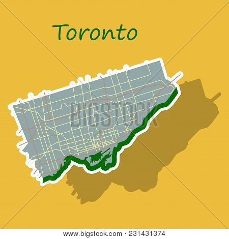 Sticker Color Map Of Toronto, Canada. City Plan Of Toronto. Vector Illustration
