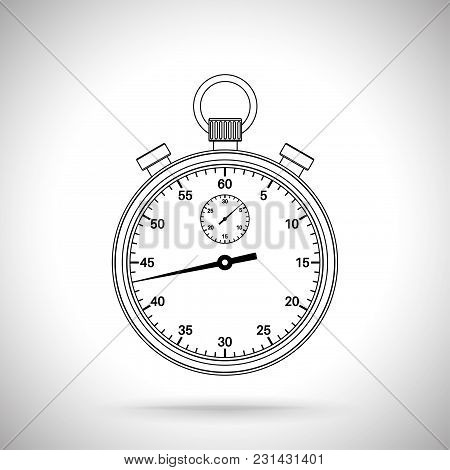 Stop Watch. Outline Icon. Vector Illustration On Gray Background.