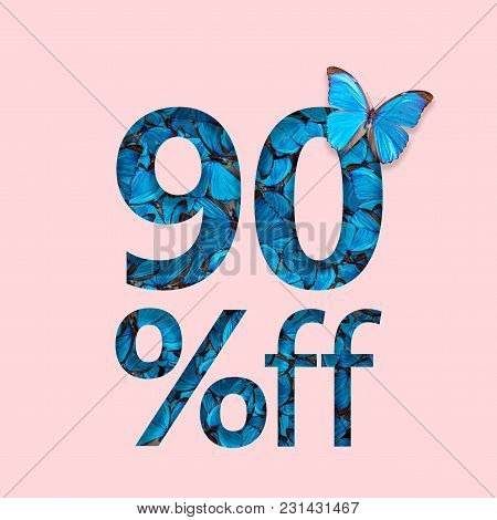 90% Discount Sale Promotion. The Concept Of Stylish Poster, Banner, Ads.