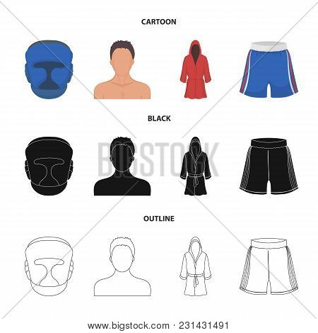 Boxing, Sport, Mask, Helmet .boxing Set Collection Icons In Cartoon, Black, Outline Style Vector Sym