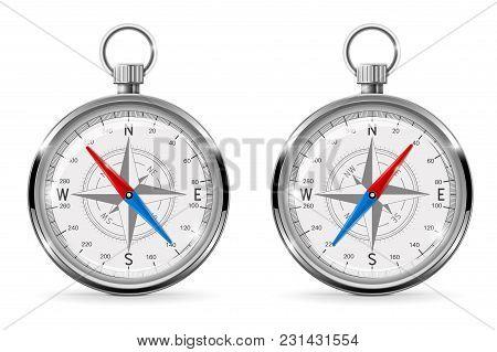Compass. Navigation Equipment. Vector 3d Realistic Illustration