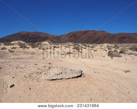 Sand Dunes And Volcanic Hills On La Graciosa, Canary Islands