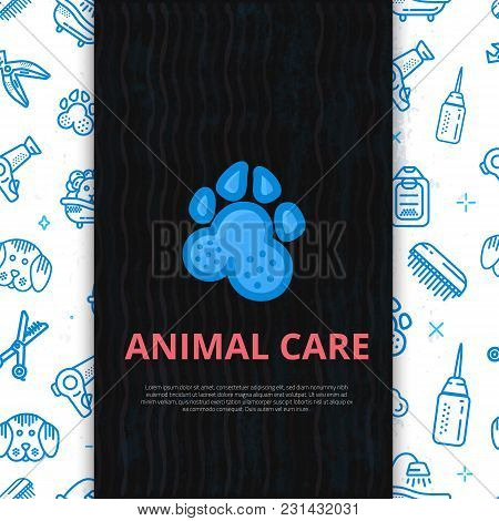 Dog Grooming Line Art Poster With Sign Of Dog, Bone, Clipper, Comb. Stylish Animal Equipment For You