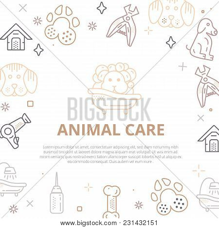 Dog Care Line Art Banner With Sign Of Dog, Bone, Clipper, Comb. Stylish Animal Equipment For Your Pr