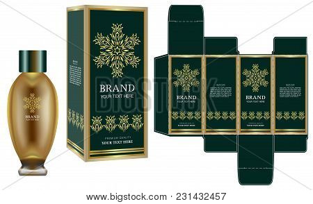 Packaging Design, Label On Cosmetic Container With Green And Gold Luxury Box Template And Mockup Box