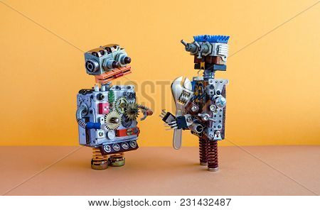 Two Robots Communication, Machine Learning Concept. Robotic Characters, Adjustable Wrench Spanner. Y