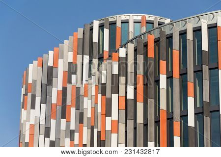 Prague, Czech Republic - March 18 2012: Brise Soleil Sun Breakers On Main Point Karlin Office Buildi