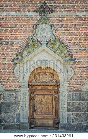 The Entrance Doorway To A Church In The Swedish Town Of Kristianstad.
