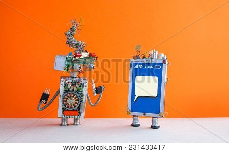 Mobile Phone Repair Service Advertising Poster. Blank Message Smartphone Screen, Robot Serviceman Wi