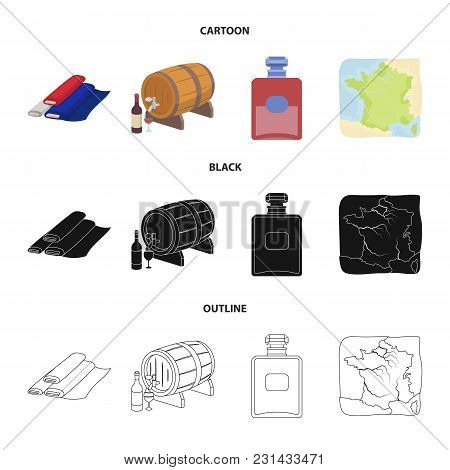 France, Country, Nation, National .france Country Set Collection Icons In Cartoon, Black, Outline St
