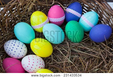Colorful Easter Eggs In Basket