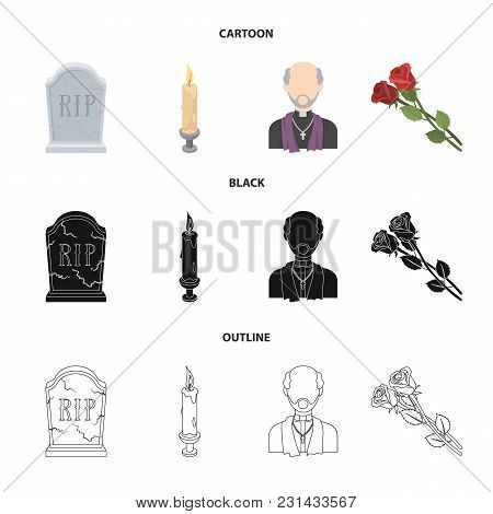 A Granite Tombstone With An Inscription, A Mourning Candle, A Pasteur, A Priest, Mourning Roses. Fun
