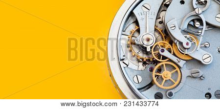 Mechanic Stopwatch Chronometer Mechanism, Spring Bronze Cogs Wheels Macro View. Shallow Depth Of Fie