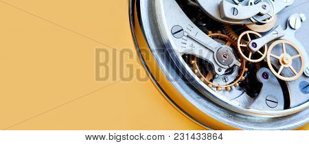 Stopwatch Chronometer Mechanism Cogs Gears Wheels Connection Concept. Clock Transmission Macro View.