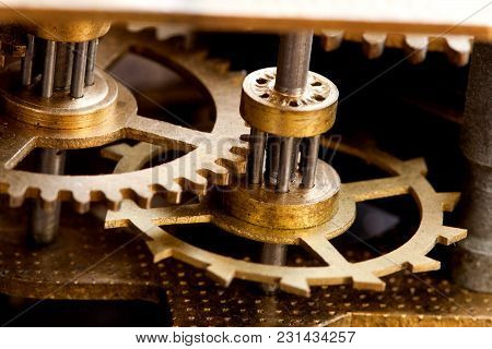Heavy Machinery Transmission Technology, Iron Wheels Gears Connected System. Shallow Depth Of Field,