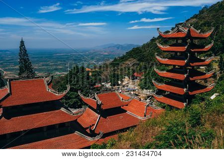 Ta Cu, Phan Thiet, Vietnam - March 7, 2017: Linh Son Truong Tho Pagoda On The Mountain Ta Cu, Vietna