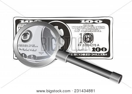 Illustration Of Usa Currency With Loupe. Close Up View Of Hundred Dollar Bills In Cartoon Style. Sui