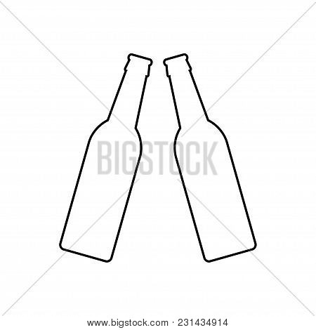 Two Beer Bottles. Icon On White Background
